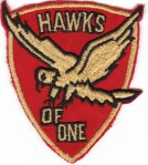 "Here's our squadron's patch at OTS - Squadron One - ""Hawks of One."""