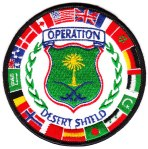 "The ""OPERATION DESERT SHIELD"" patch showing the Joint Forces' national flags."