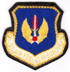 "The U.S. Air Forces in Europe or ""USAFE"" Command patch with the black naugahyde ""leather"" backing."