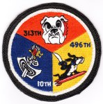 "The Hahn AB Wing Staff ""pizza patch"" showing the three F-16 squadrons assigned to Hahn AB, Germany: 10th TFS - ""Fighting Tenth,"" 313th TFS - ""Lucky Puppies"" and the 496th - ""The World's Finest."""