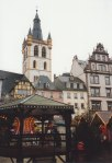 The openness of the central market square in Trier is remarkable for its size, and all through the year there are farmer's markets and cut fresh flowers and the like being sold there.