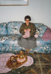 My wife's grandmother, and David's great-grandmother, sits on the couch and crochets a tablecloth - a hobby shared by all of the women in my wife's family - and a common practice in Germany at that time.