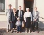 In April 1990, my wife's grandmother had a birthday party at her house in Schweich, Germany; and in this photo left to right are: my wife's father, her grandmother, David and I, my wife's great-aunt and one of my wife's cousins.