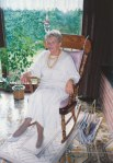 My wife's great-aunt sits in our rocking chair during a visit to our home, inspiring us all with her youthful vigor and poise that defied her years - setting an example for us all to hopefully follow someday.