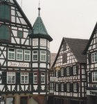 "The Hotel ""Gasthof zum Adler"" in Schiltach is an excellent example of half-timbered or ""Fachwerk"" buildings in the Black Forest, located in the area south of Freudenstadt, Germany."