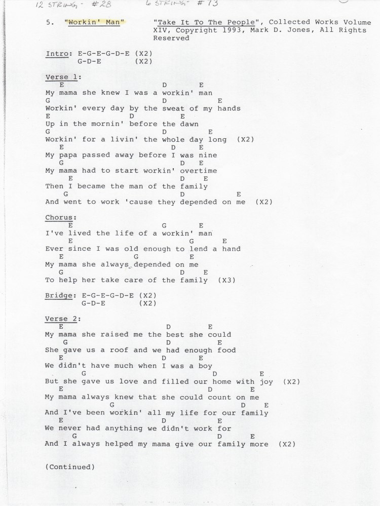 """Workin' Man, Pg 1 - """"Take It To The People"""", Collected Works Volume XIV, Copyright 1993, Mark D. Jones, All Rights Reserved"""