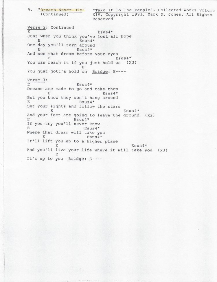 """Dreams Never Die, Pg 2 - """"Take It To The People"""", Collected Works Volume XIV, Copyright 1993, Mark D. Jones, All Rights Reserved"""
