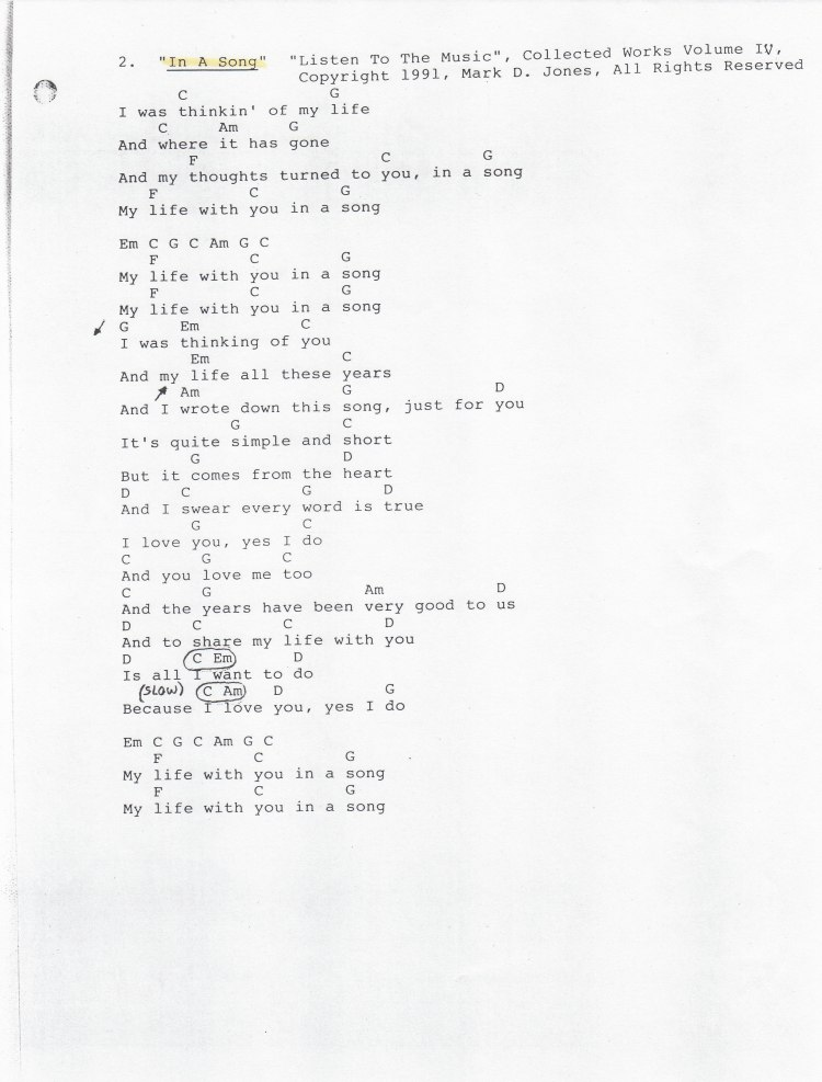 """""""In A Song"""" - """"Listen To The Music"""", Collected Works Volume IV, Copyright 1991, Mark D. Jones, All Rights Reserved"""