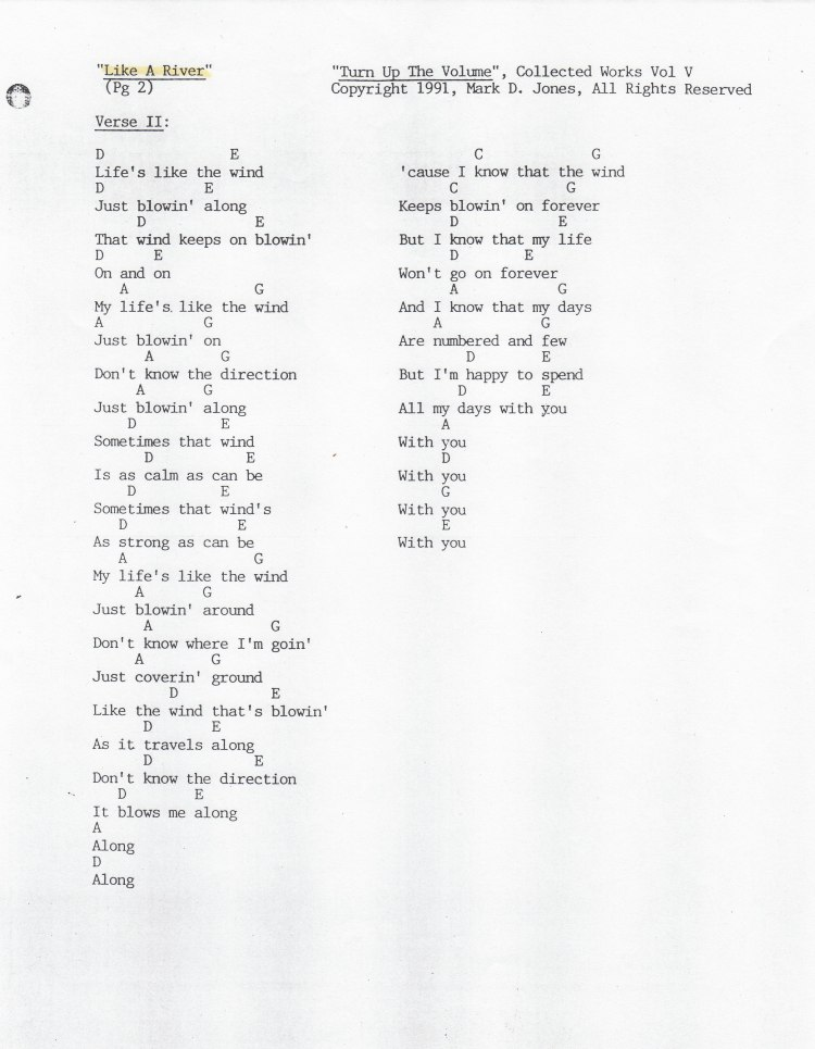 """Like A River"" Pg. 2 - ""Turn Up The Volume"", Collected Works Volume V, Copyright 1991, Mark D. Jones, All Rights Reserved"