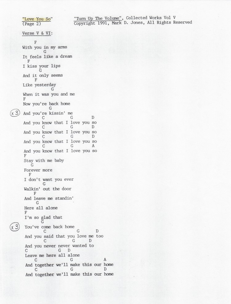 """Love You So"", Pg. 2 - ""Turn Up The Volume"", Collected Works Volume V, Copyright 1991, Mark D. Jones, All Rights Reserved"