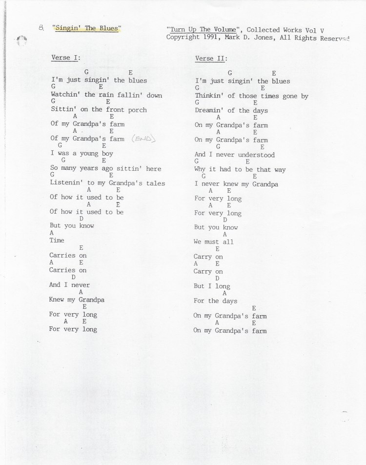 "Singin' The Blues, Pg. 1 of 2, ""Turn Up The Volume"", Collected Works Volume V, Copyright 1991, Mark D. Jones, All Rights Reserved"