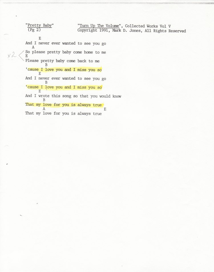 """Pretty Baby"" Pg 2 of 2 - ""Turn Up The Volume"", Collected Works Volume V, Copyright 1991, Mark D. Jones, All Rights Reserved"