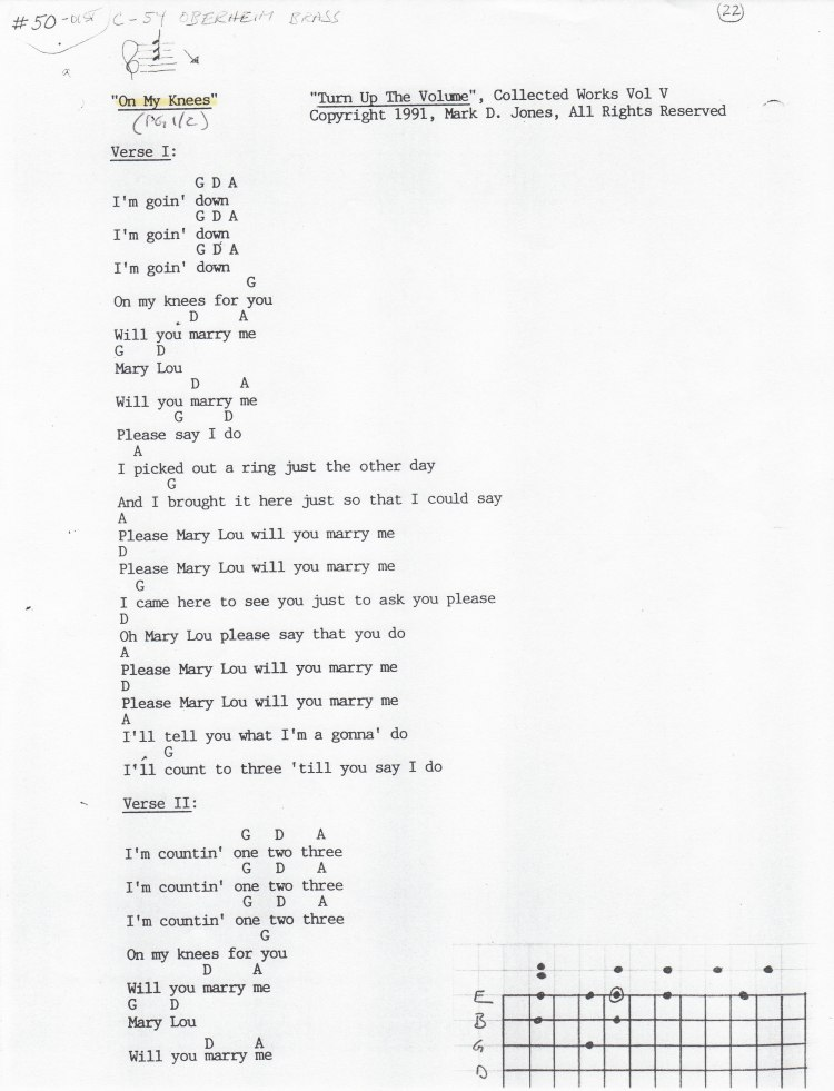 """On My Knees"" (Pg 1of2) - ""Turn Up The Volume"", Collected Works Volume V, Copyright 1991, Mark D. Jones, All Rights Reserved"